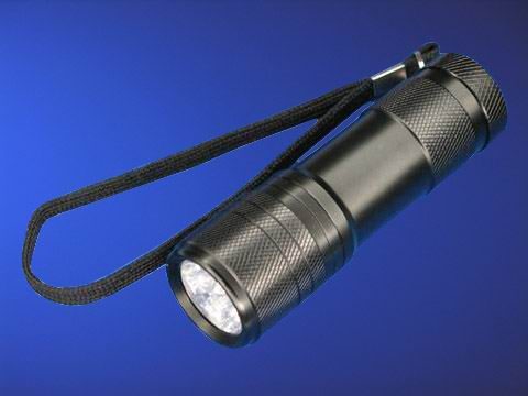 9 LED 375-380nm Purple Light UV LED Flashlight