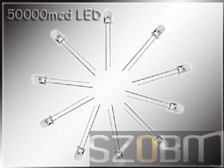 5mm 50000mcd White Light LED / 200pcs